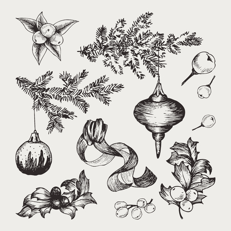 Vector set Christmas hand drawn icons, design elements, objects. Sketch decor elements Ilustracja