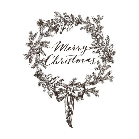 Weihnachtsskizze handgezeichnete Illustration mit Kiefernzweigen und Zapfen. Vektorillustration für Ihr Design.