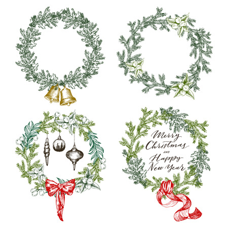 Set of Christmas wreaths, vector illustration for processing printing projects