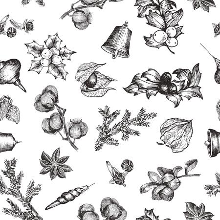 Vektorillustrationsskizze. Grußkarten und Urlaub design.Christmas handgezeichnete Dekorationen Pelzbaum. Mit Bällen, Spielzeug, Mistel und Tannenzweig. Vintage-Muster
