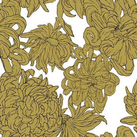Seamless repeat pattern with flowers on white background. Hand drawn fabric, gift wrap, wall art design.