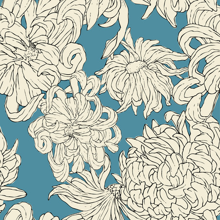 Seamless repeat pattern with flowers on blue background. Hand drawn fabric, gift wrap, wall art design.