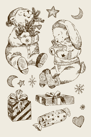 Vintage Christmas illustration with white bear, little bird and gifts. Perfect for Christmas cards. Ilustracja