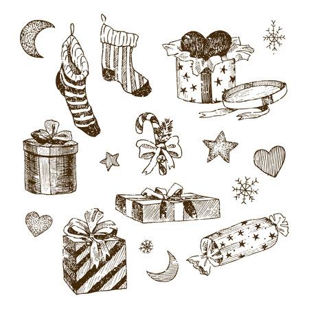 Weihnachtskollektion von dekorativen Winterelementen. Vektordesign