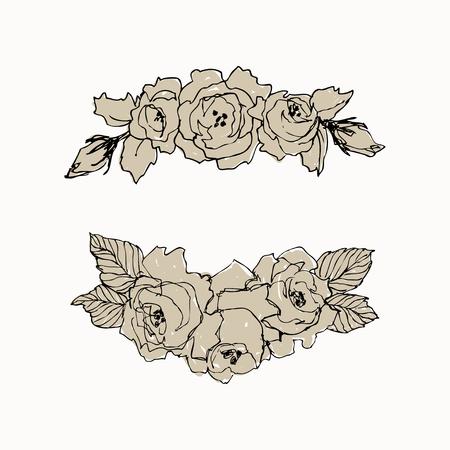 Wild roses blossom branch isolated. Vintage botanical hand drawn illustration. Spring flowers of garden rose, dog rose. Vector design