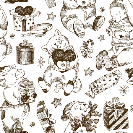 Vintage Christmas repeating pattern with winter animals and gifts. Perfect for Christmas cards. Ilustracja