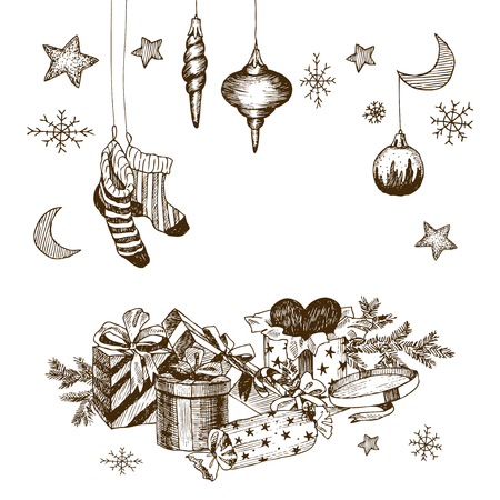 Christmas collection of decorative winter elements. Vector design Banque d'images - 113095455
