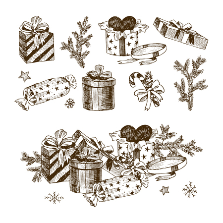 Christmas collection of decorative winter elements. Vector design Banque d'images - 127120075