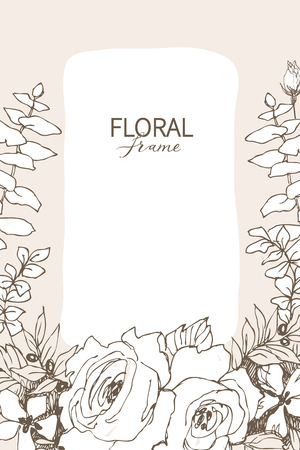 Hand drawn floristic frame border with delicate flowers, branches, plants. Decorative outlined Vector Illustration. Floral design element.
