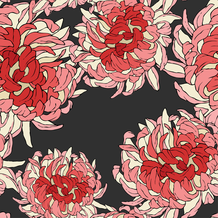 Seamless repeat pattern with flowers on black background. Hand drawn fabric, gift wrap, wall art design.