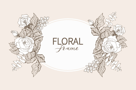 Floral vector design frame. Linear roses, eucalyptus, berries, leaves witn white silhouette. Wedding card on pink. All elements are isolated and editable. Stock Photo