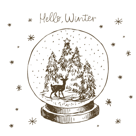 Winter snow globe with Christmas tree, deer and snow inside. Cute hand drawn vector black and white hand drawn line Banque d'images - 114552557