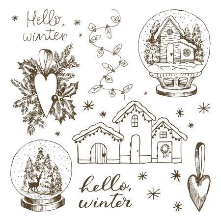 Set of christmas winter elements. Hand drawn snowflakes. Christmas tree toy heart, a snow globe with a house inside, a snow globe with Christmas trees and a deer, garland, lettering Hello winter, gingerbread house. Vintage vector illustration