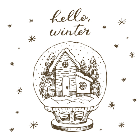 Winter snow globe with house and snow inside. Cute hand drawn vector black and white hand drawn line Banque d'images - 114552567