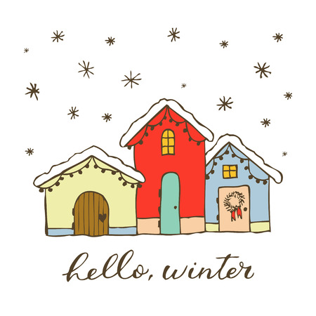 Vector hand drawn illustration with cute gingerbread house. Lettering Hello winter