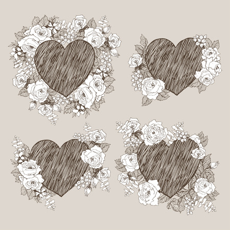 Set of floral vector design frame with big heart. Linear roses, eucalyptus, berries, leaves witn white silhouette. Hand drawn wedding card. Valentines Day concept. Love concept 写真素材