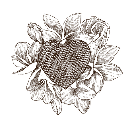 Floral vector design frame with big heart. Hand drawn sketch tropical flower Plumeria. Botanical illustration engraving style. Hand drawn wedding card. Valentines Day concept. Love concept 写真素材