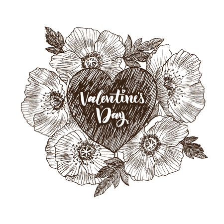 Floral vector design frame with big heart. Linear California poppy flowers drawn and sketch. Hand drawn wedding card. Valentines Day concept. Love concept