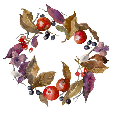 Watercolor autumn frame. Background. Wreath made of hand drawn leaves, apples and berries. Endless texture can be used for printing onto fabric and paper or scrap booking. Фото со стока