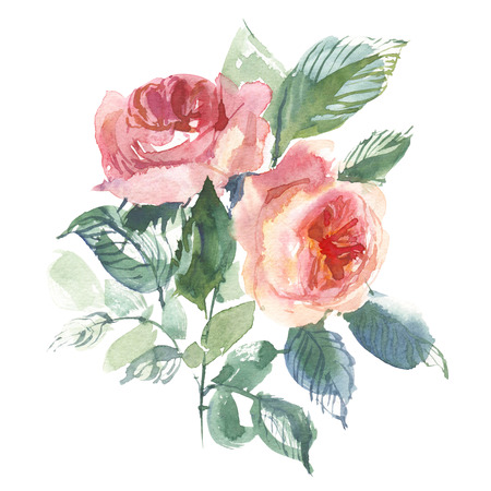Vintage flower overwhite background. Wedding flowers bundle. Flower of watercolor detailed hand drawn roses. Stock Photo