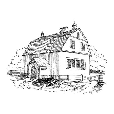 Lettering inscription Village. Detailed illustration engraving style.