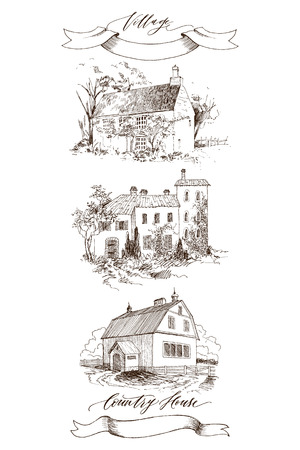 Lettering inscription Village. Detailed illustration engraving style. Vettoriali