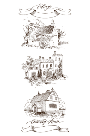 Set of Rural landscape with old farmhouse and garden. Hand drawn illustration in vintage style. Retro tape with an inscription Country house and Village. Vector design Stock Photo