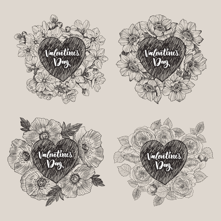 Floral vector design frame with big heart. Cherry flowers and leaves, anemones, poppy, roses. Hand drawn wedding card. Valentines Day concept. Love concept 写真素材