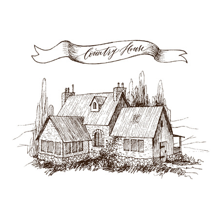 Rural landscape with old farmhouse and garden. Hand drawn illustration in vintage style. Retro tape with an inscription Country house. Vector design