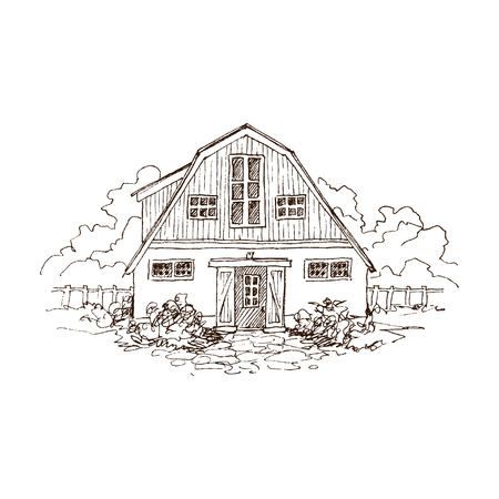 Rural landscape with old farmhouse and garden. Hand drawn illustration in vintage style. Large residential barn with a wooden fence. Vector design Archivio Fotografico - 114552638