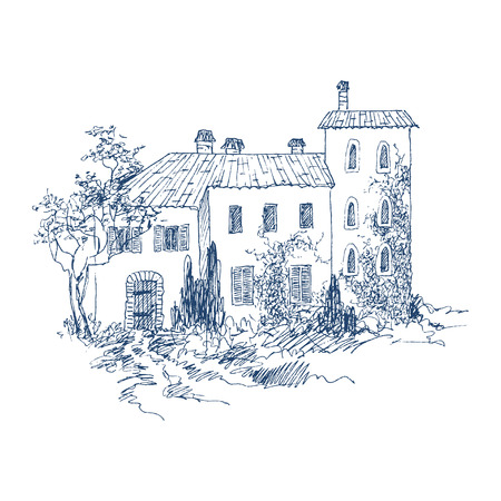 Rural landscape with old farmhouse and garden. Hand drawn illustration. Stone country Italian house with roof tiles and garden plants. Vector design