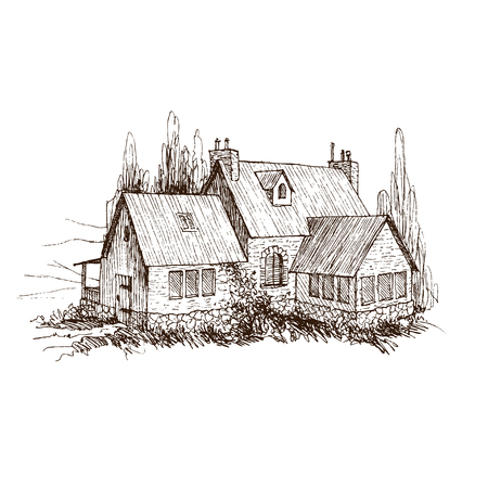 Lettering inscription Village. Detailed illustration engraving style. Archivio Fotografico - 126809126