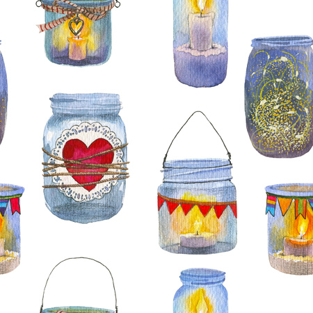 Seamless pattern with cute glass jar with candle. Hearts, light of candles, small flags. Perfect for Valentines Day decoration. Watercolor hand drawn illustration.