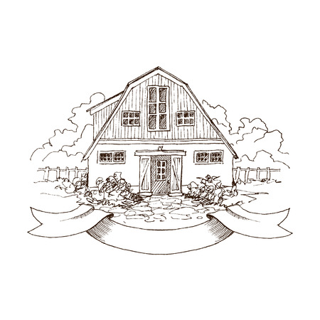 Rural landscape with old farmhouse and garden. Hand drawn illustration in vintage style. Large residential barn with a wooden fence. Retro ribbon for your text. Vector design