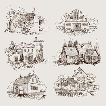 Iscrizione scritta Village. Stile di incisione dell'illustrazione dettagliata. Vettoriali