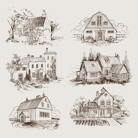 Schriftzug Inschrift Dorf. Detaillierte Illustration Gravurstil. Vektorgrafik