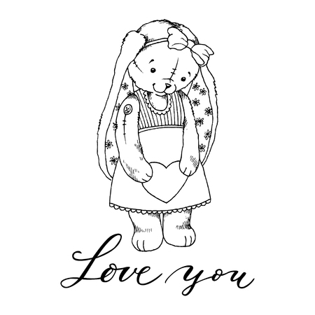 Hand drawn furry teddy rabbit with a heart in paws. Vector illustration