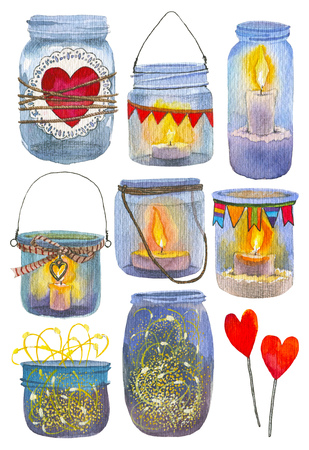 Set of Hand drawn glass jars with a hearts, garland, candles. Banks jam. Banks with watercolor hearts. Banks with love, label and stamp.