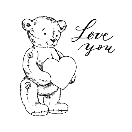 Hand drawn furry teddy bear with a heart in paws. Vector illustration