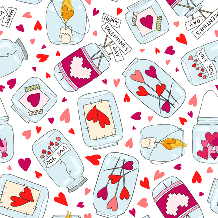 Seamless pattern with cute jam jar. Perfect for Valentines Day decoration. Wedding and romance concept. Vector hand drawn illustration.