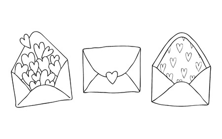 Set of three doodle drawing. Love letter with heart. Valentine s day. Template for love cards and invitations. Isolated on white background. Hand drawn vector illustration for coloring book Ilustração