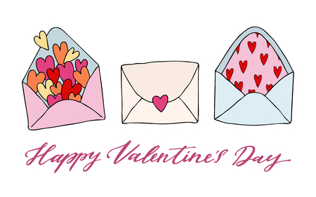 Set of three doodle drawing. Love letter with heart. Happy Valentine s day inscription. Template for love cards and invitations. Isolated on white background. Hand drawn vector illustration. Ilustração