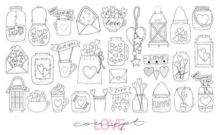 Illustration of hand drawn doodle jar isolated on white background. Coloring book vector illustration.