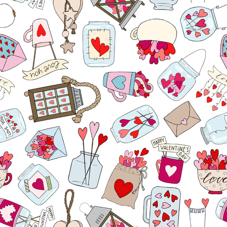 Valentines day seamless pattern with hearts in jar. Vector hand drawn illustration Ilustracja