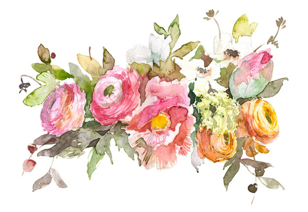 Watercolor illustration vintage bouquet of flowers poppy, ranunculus, beeries. Hand drawn spring illustration isolated on white background. For invitation, print, wedding