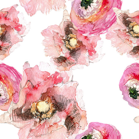 Peony with poppy and ranunculus seamless pattern, classic floral repeat background for web and print. Watercolor hand drawing. Romantic design for natural cosmetics, perfume, women products. Can be used as greeting card or wedding background Banco de Imagens