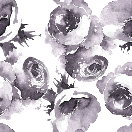 Garden roses seamless pattern, classic floral repeat background for web and print. Watercolor hand drawing. Romantic design for natural cosmetics, perfume, women products. Can be used as greeting card or wedding background Banco de Imagens