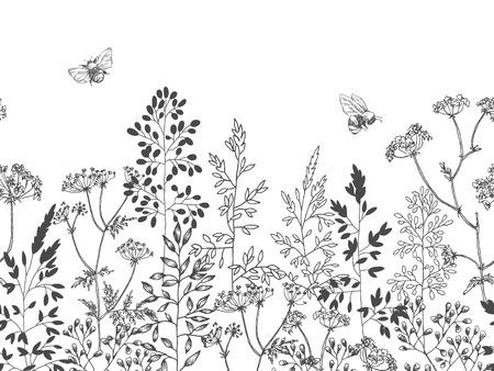 Blühende Blumen. Sammlung einstellen. Handgezeichnete botanische Blütenzweige auf weißem Hintergrund. Gravierte Abbildung. Vektorgrafik