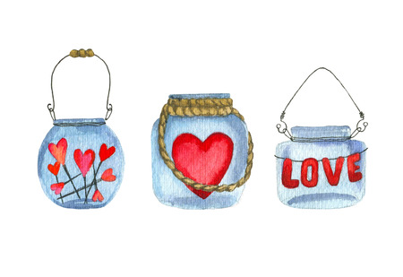 Set of Hand drawn glass jars with a hearts, garland love, candles isolated on white background. Banks jam. Banks with watercolor hearts. Cute watercolor mason jar for Valentines Day invitation and other design. Love concept. Romantic mood Zdjęcie Seryjne - 127313605