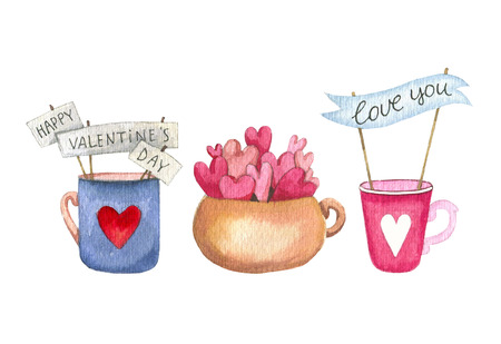 Set of Hand drawn cup and mug with a hearts, garland on stick isolated on white background. Cute watercolor lantern for Valentines Day invitation and other design. Love concept. Romantic mood Stock Photo